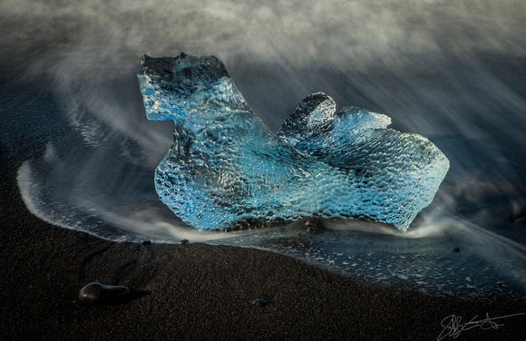 Melting Ice on a Black Sand Beach, Breidamerkursandur, Iceland